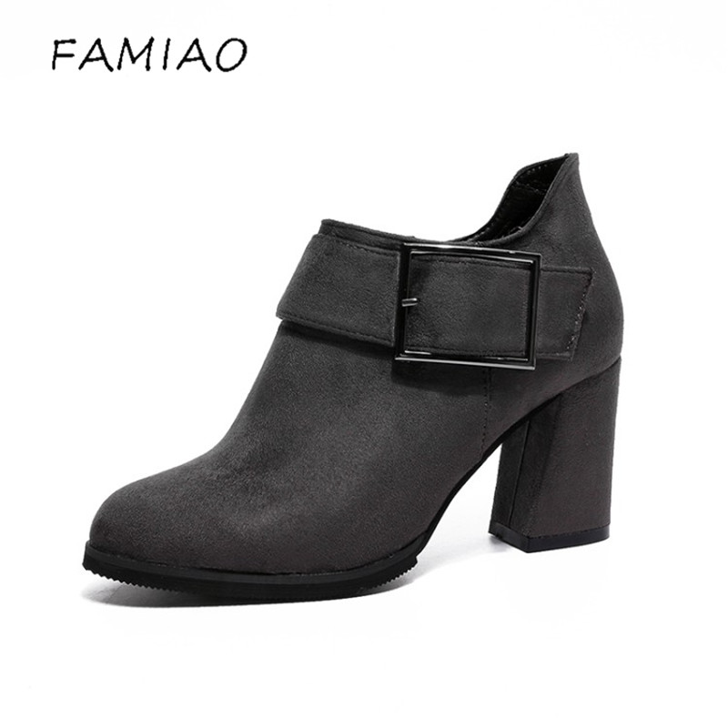 FAMIAO Shape Pointed Toe Ankle Boots Flock Slip-On Winter Boots Women's Autumn Shoes high Heels Chelsea Boots 2017 zapatos mujer high quality winter autumn ankle boots for woman high heels pointed toe shoes slip on womens short boots black ladies boots