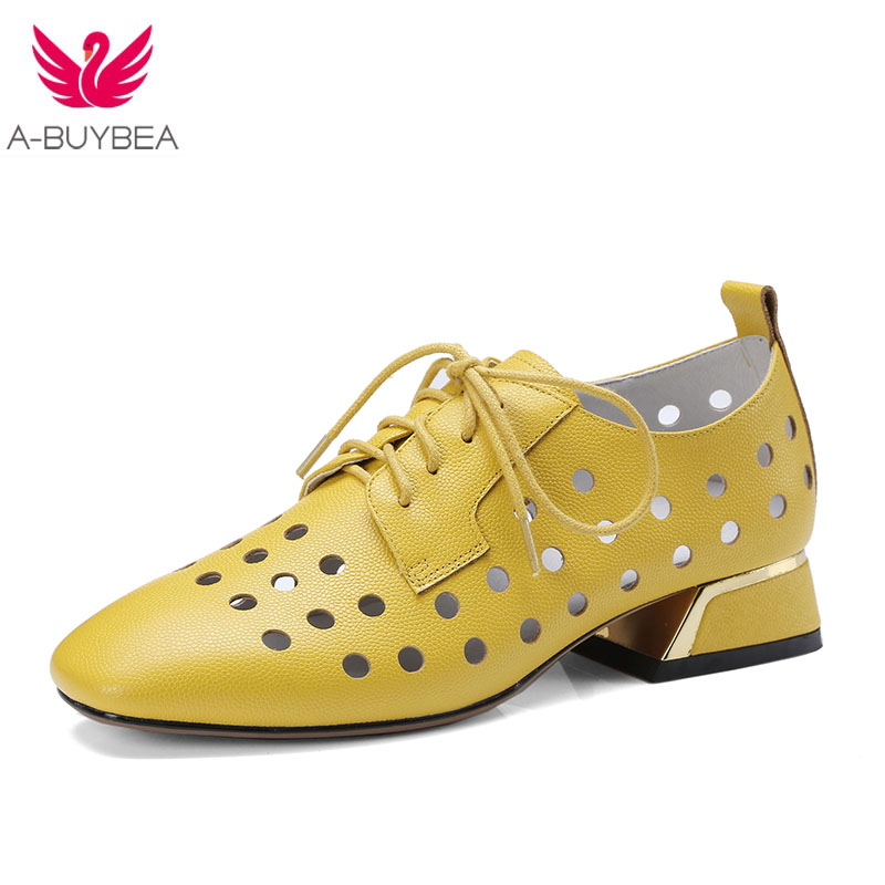 Spring\Summer 2018 New British Style Pointed Toe Oxford Shoes Women Cow Split Leather Lace-Up Hollow Out Casual Shoes Woman aardimi 100% cow leather oxford shoes for woman spring