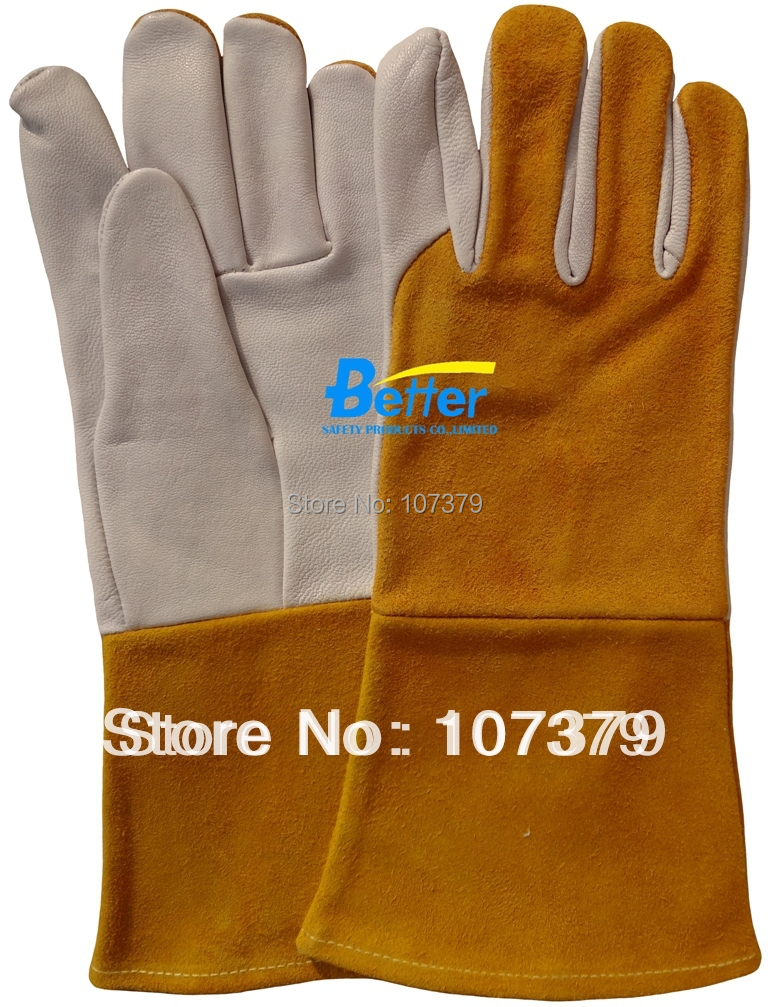 Grain Deerskin Leather Work Glove TIG MIG Welding Safety Glove Grain Goat Leather Welding Glove wholesale welding 304l stainless level 5 cut proof metal mittens both hand can use butcher glove lobster glove sewing glove
