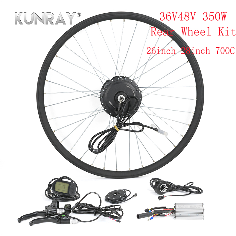 KUNRAY Bicycle Conversion E Bike Complete Kit 36V 48V 350W Brushless Gear Motor For 26 28