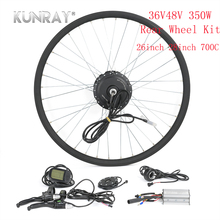 KUNRAY Bicycle Conversion E Bike Complete Kit 36V 48V 350W Brushless Gear Motor For 26 28 700C Rear Wheel Dive Hub Motor LCD5 electric bike conversion kit 24v 36v 48v 350w 8inch wheel brushless toothless hub motor e bike engine wheel motor scooter kit