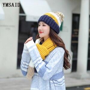 Image 3 - Женские шапки 2018, осенне зимние модные брендовые шапки, шарф, вязаный Двухсекционный женский шарф, повседневный длинный шарф Chapeu Feminino Bone