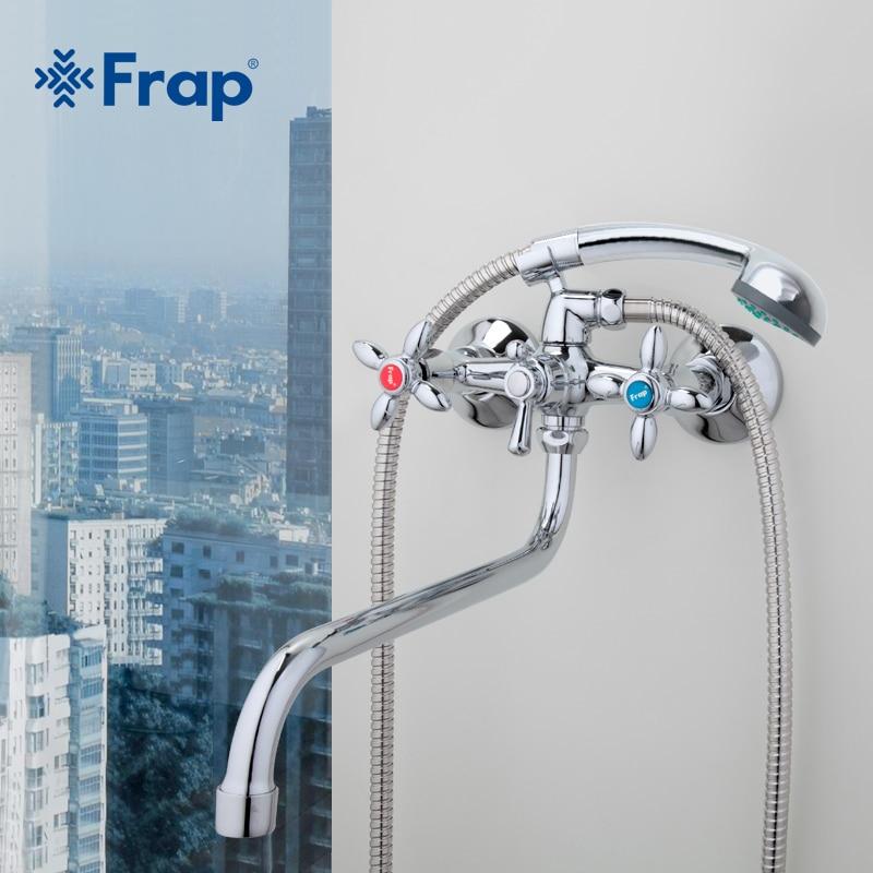 FRAP clásico grifo tronco largo baño bañera mezclador agua caliente y fría doble control F2227D