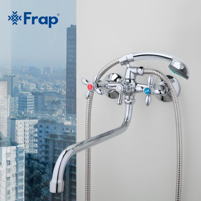 Frap Классический смеситель для душа Длинный хобот ванной смеситель Горячей и холодной воды двойной контроль F2227