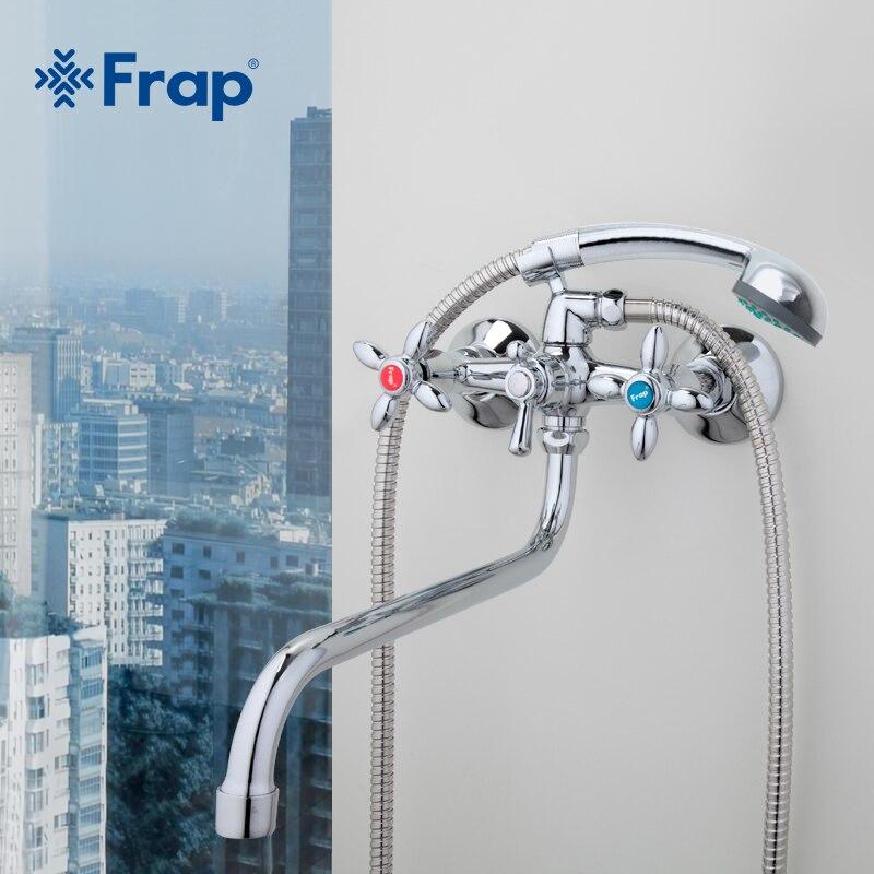 Frap классический смеситель для душа длинный хобот ванной смеситель горячей и холодной воды двойной контроль f2227d