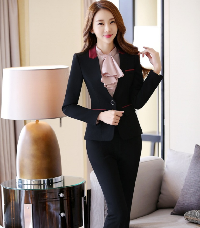 149babd0c Formal Uniform Design Professional Office Work Wear Suits With Jackets And  Pants Autumn Winter Female Pantsuits Trousers Set-in Pant Suits from Women's  ...
