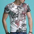 Camisa de T dos homens de luxo 2017 Moda Verão Impresso Curto-de Mangas Compridas Da Marca Masculina Camisa Masculina T-Shirt Fino Camiseta Poleras Hombre