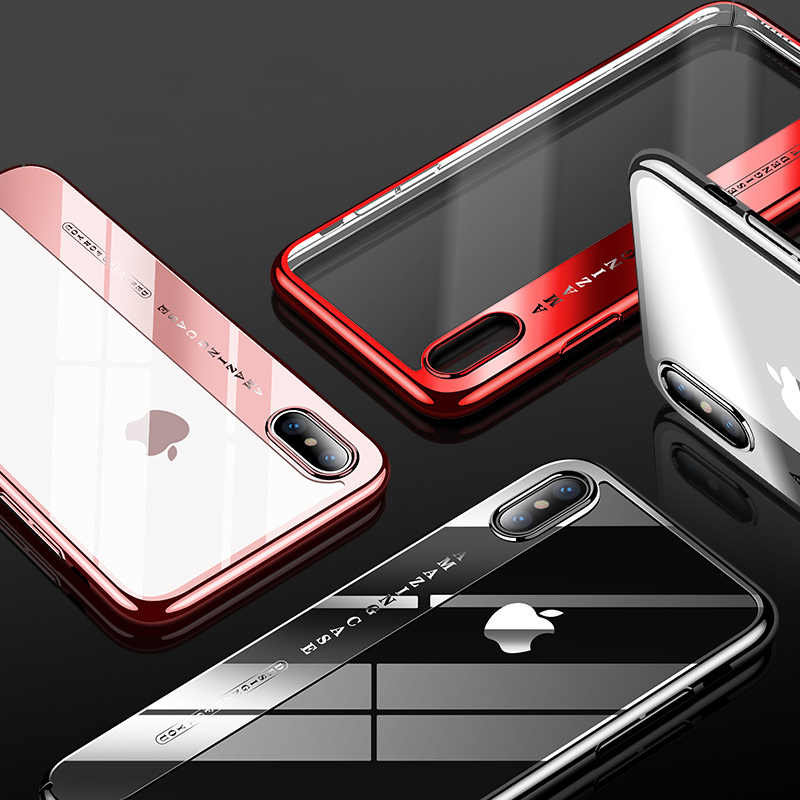 CAFELE מקורי טלפון מקרה עבור iphone X אופנה ציפוי מקרה קשה שקוף חזרה כיסוי עבור אפל iphone X מקרי אנטי שריטה