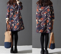 Ladies Padded Cotton Oversized Floral Print Jumper Shirt Dress Ladies Winter Retro Thicken Cotton Long Sleeve Loose pullover