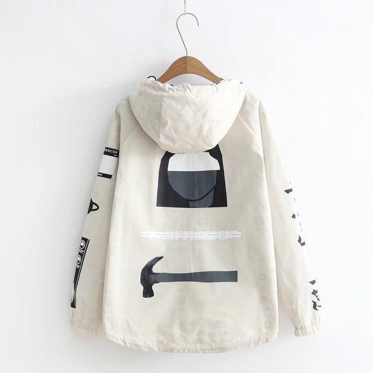 Письма Печать куртка весна новый Женский реглан рукавами Свободная куртка на молнии пальто с капюшоном Универсальные Студенты пальто Топы
