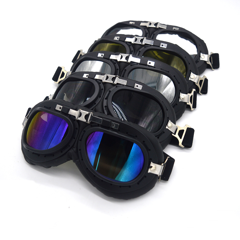 Mooreaxe Motorcycle Goggles Glasses WWII Steampunk Vintage Pilot Jet Helmet Glasses Biker ATV Cycling Ski Sunglasses