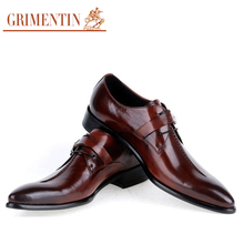GRIMENTIN Fashion Elegant Designer Winter Shoes Men Luxury Italian Genuine Leather Pointed Toe Buckle strap Formal Wedding Flats