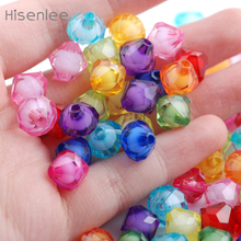 Hisenlee 8 10 12 14 18MM Mixed Colors Bicone Acrylic Tiny Loose Spacers Bead In Beads For DIY Jewelry Making BR10008