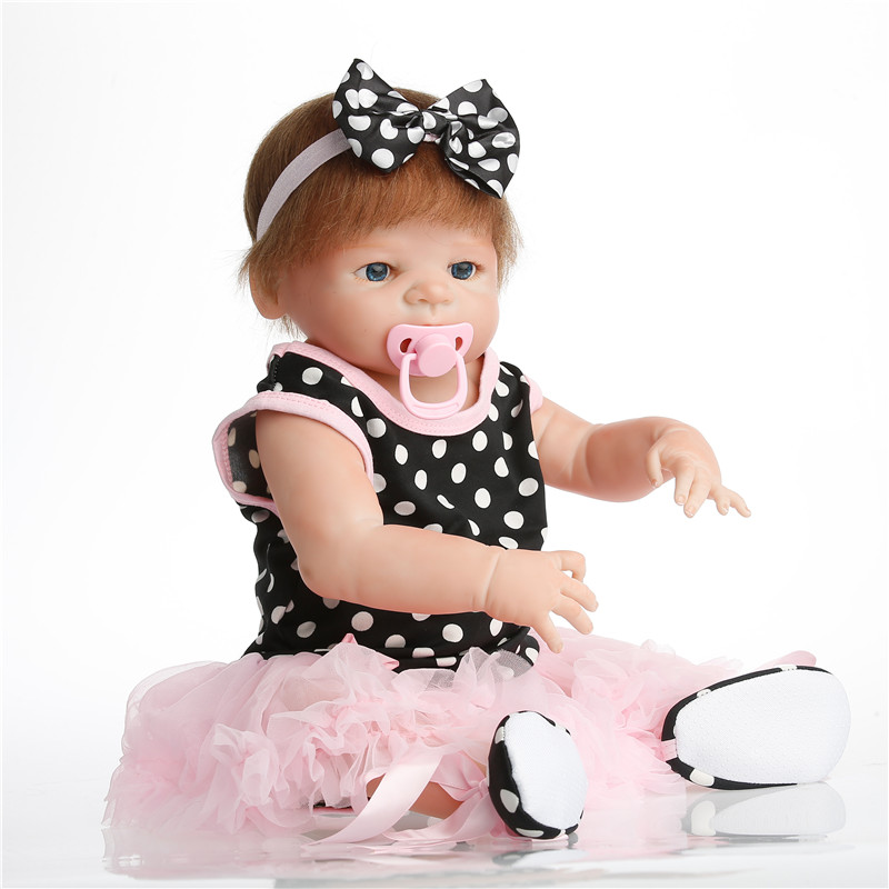 SanyDoll 22 inch 57 cm Silicone reborn dolls, lifelike doll reborn Pink Princess Dress Fashion Doll комплект одежды для девочки nota bene цвет розовый н9201201 5 размер 122 128