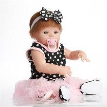 SanyDoll 22 дюймов 57 см силиконовые куклы reborn, реалистичные куклы reborn розовое платье принцессы Кукла