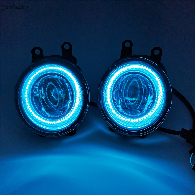 Car Flashing 2 Pieces LED Angel Eyes Fog Light Lamp DRL Daytime Running Light Daylight 2 Functions DRL For Toyota Wish 2007-2015