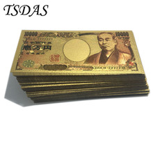 24k Gold Banknote Double-sided Foil Japan 10000 Yen 7777777 Fake Money Collection Gift 100pcs/lot