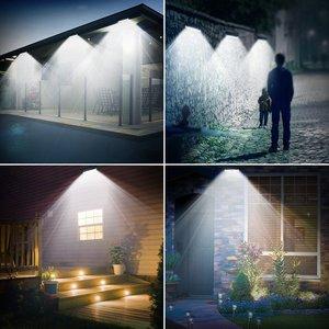 Image 5 - 4 Pack LITOM 102 LED Drahtlose Solar Lichter Outdoor Garten Helle Motion Sensor Sicherheit Lichter Wasserdichte IP65 heißer Luces Solares