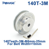 POWGE Arc Tooth 140 Teeth 3M Synchronous Pulley Bore 10/12mm for Width 10mm HTD3M Timing belt gear pulleys Wheel 140Teeth 140T