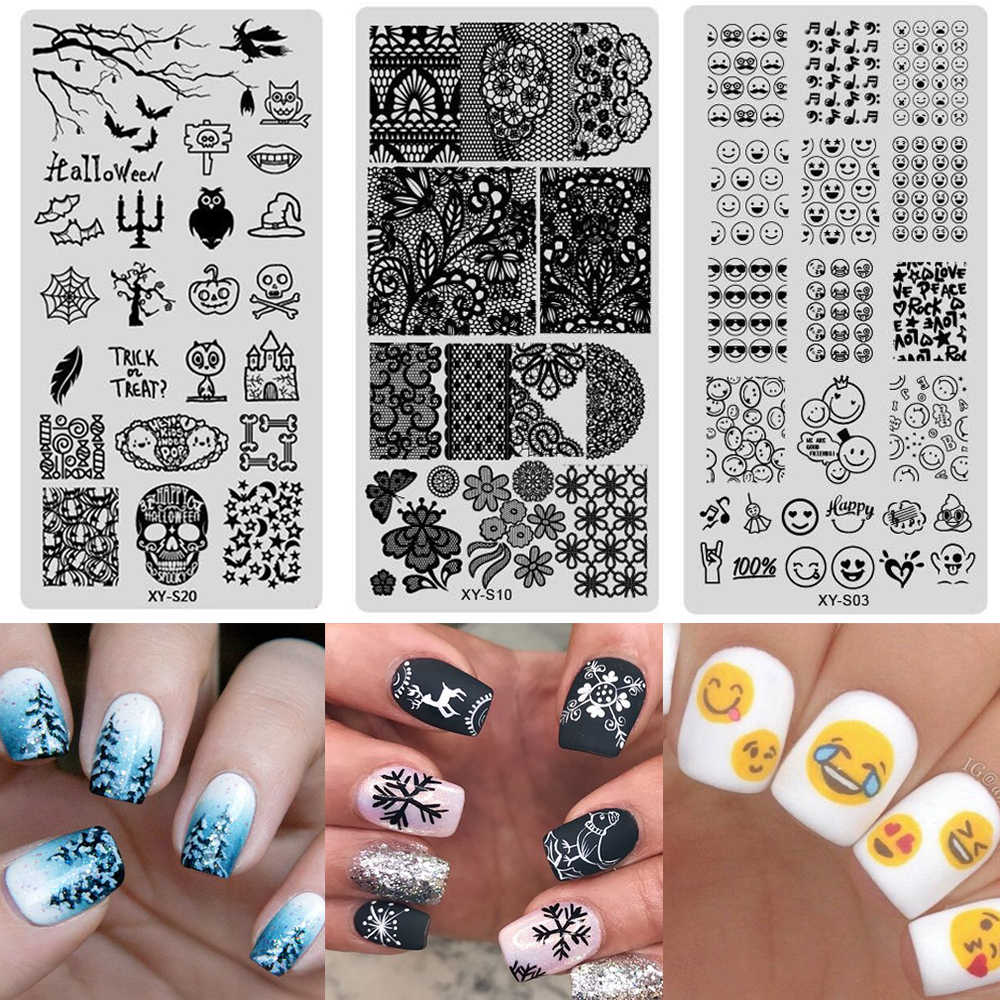 20pcs Christmas Lace Flower Pattern Nail Sting Plates Art St Template Manicure Stencil Tool Laxys01 20 In Templates From