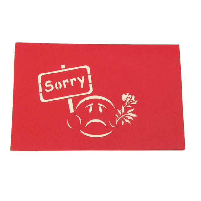 sorry greeting 3d card pop up paper cut postcard birthday valentines