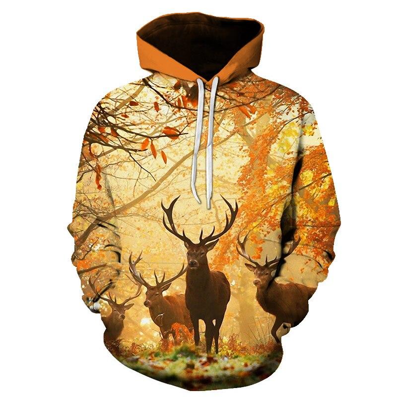 BZPOVB Fashion Animal style deer cute natural scenery Man Women Top hooded pullover Hoodies Men's/women 3d Print