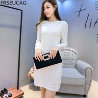 FRSEUCAG 2017 Autumn And Winter New Female Cashmere Dress Knitted Pullover Long Sleeves Fashion High End