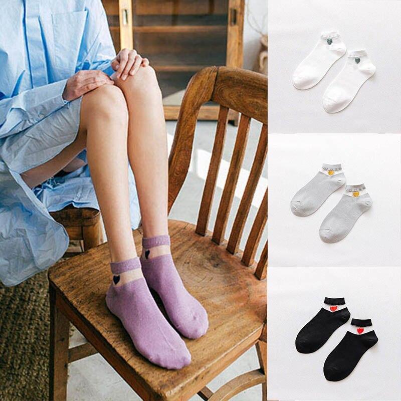Fashion Casual Breathable Funny Socks HarajukuWomen Cotton Silk Short Bright Color Heart Lace Ankle
