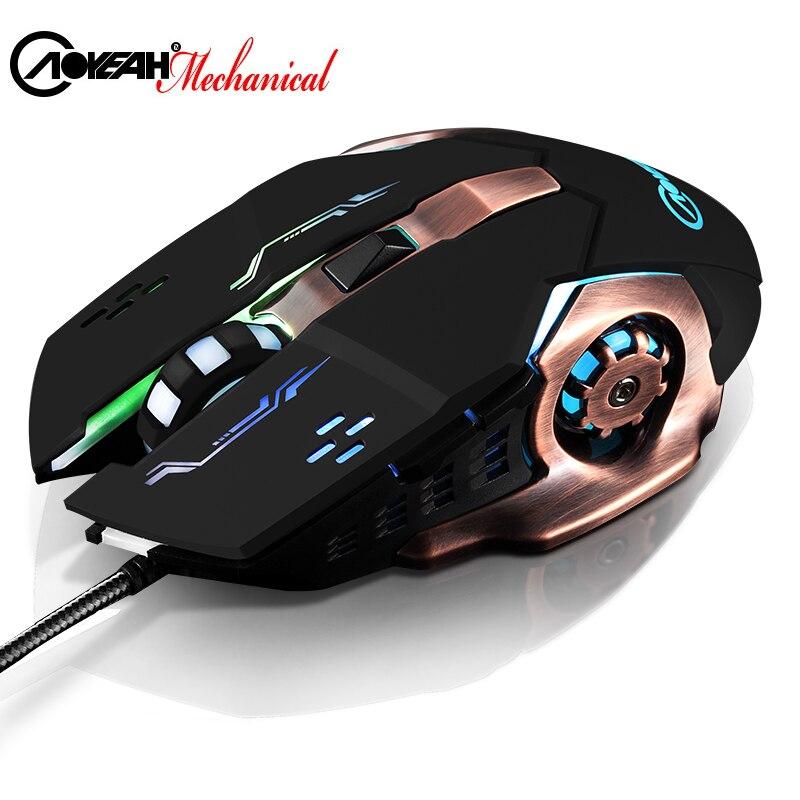 AOYEAH Carble DPI Regolabile Ottico Ergonomico Retroilluminato A Led USB Wired 6 D Mouse di Gioco per PC Ufficio Computer Souris Gamer