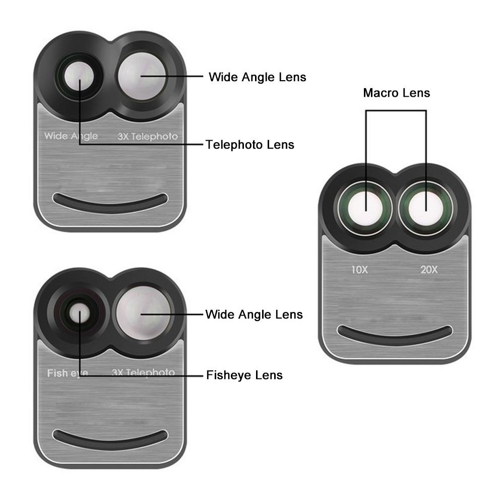 17 New For iPhone 7 Plus 7Plus Dual Phone Camera Lens Fisheye Wide Angle Macro Telescope Camera Phone Lens with Phone Case 5