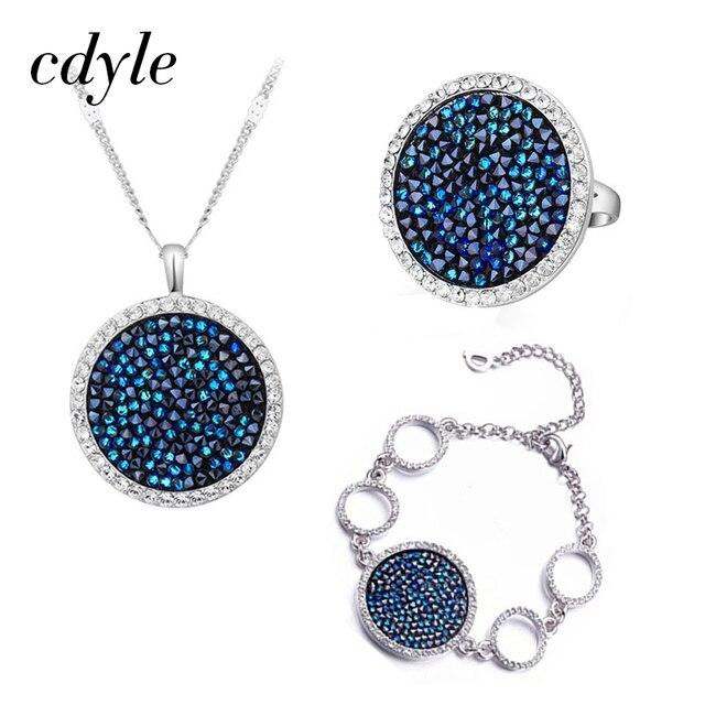 Cdyle Moda Jóia Set Azul Gem Mulheres Colar Pulseira Anel Define Bijoux Embelezado com cristais Redondos