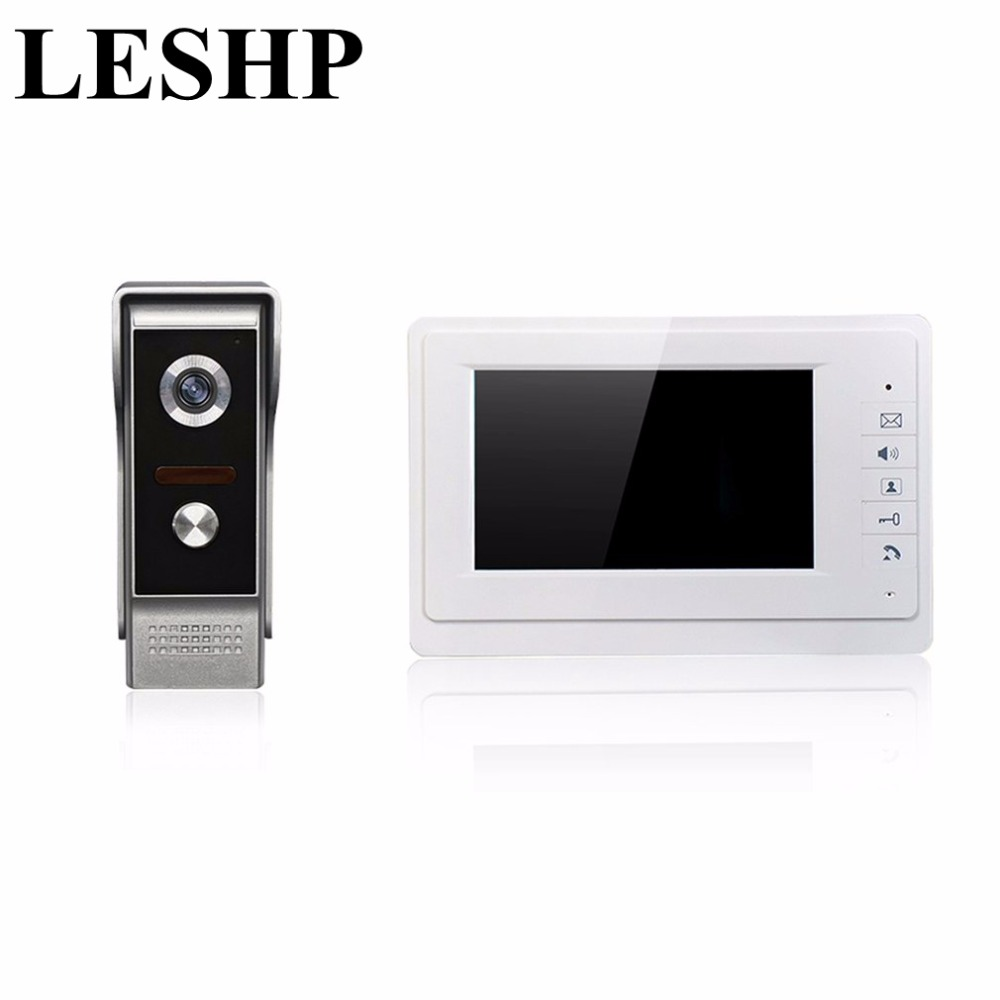 LESHP 7'' TFT LCD Wired Video Door Phone System Visual Intercom Doorbell 800x480 Indoor Monitor 700TVL Outdoor Infrared Camera 7 inch video doorbell tft lcd hd screen wired video doorphone for villa one monitor with one metal outdoor unit night vision
