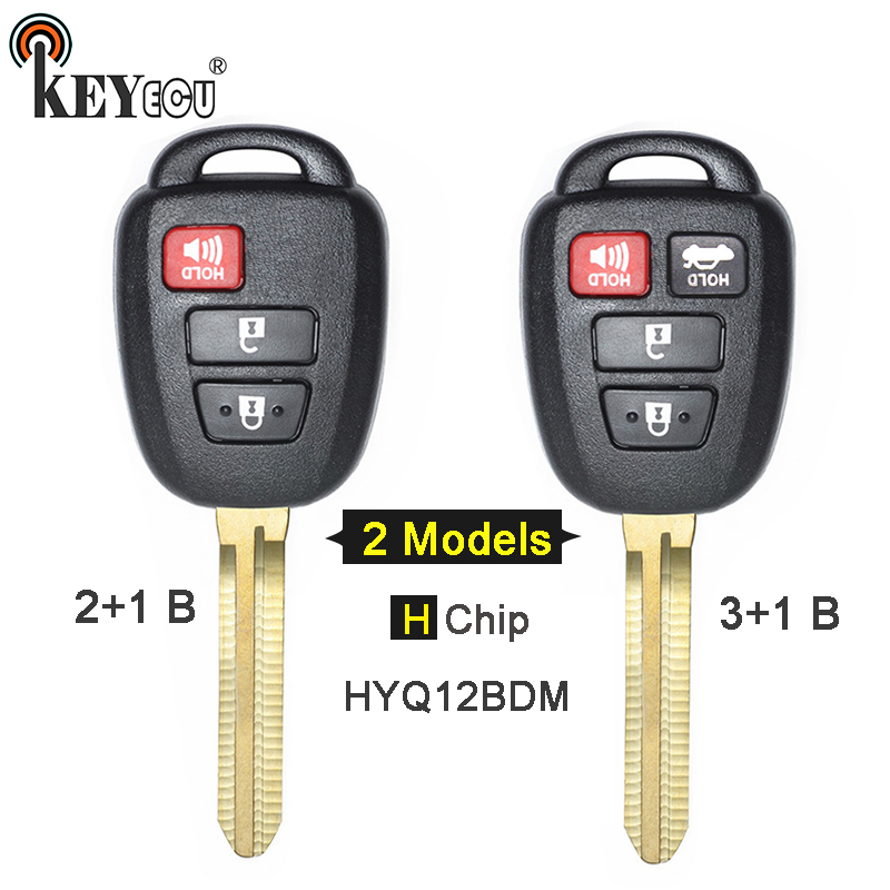 KEYECU FCC: HYQ12BDM H Chip Replacement 2+1 3/ 3+1 4 Button Remote Key Fob for Toyota Rav4 Prius C V Carmy TOY43 Blade