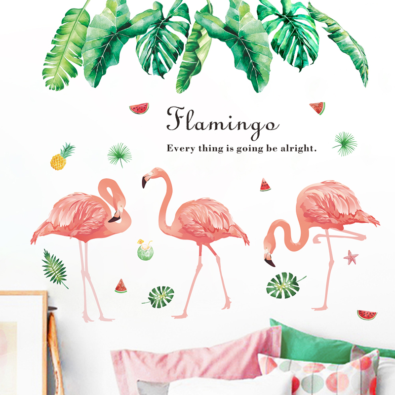 New Flamingo Leaf Wall Stickers For Home Decor Living Room