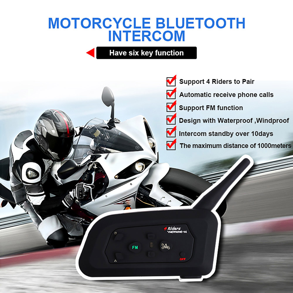 цена на Vnetphone V4 Motorcycle Helmet Intercom Headset 1200M 4 Riders Motorcycle BT Interphone With FM Radio(Single)