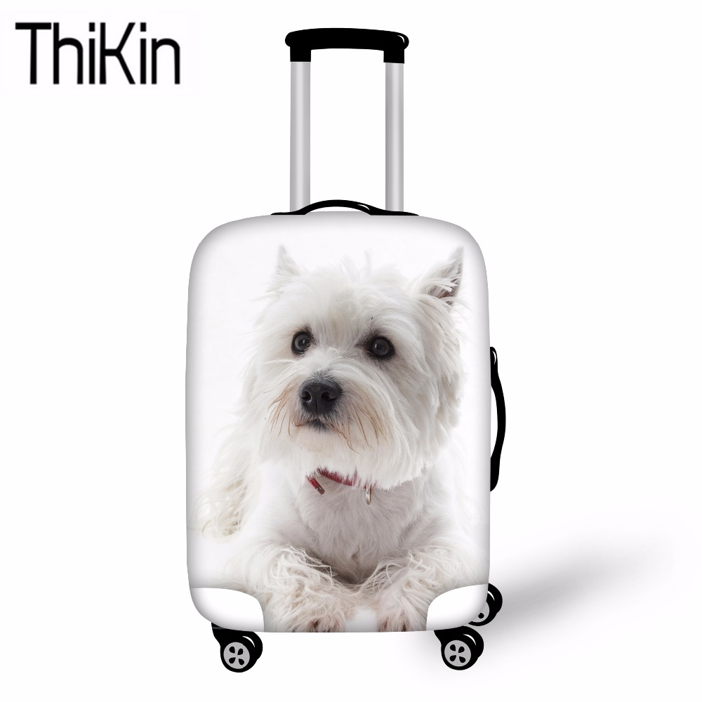 THIKIN Travel Accessories West Highland Terriers Printing Luggage Cover For Dustproof Trolley Case Cover Protective Suitcase Bag