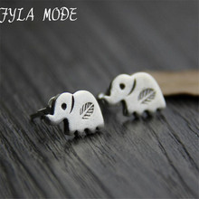S925 Sterling Silver Jewelry Retro Thai Silver Leaf Carved Earrings Women Unique Small Elephant Earrings 7.8*13mm 2.40g WTS006