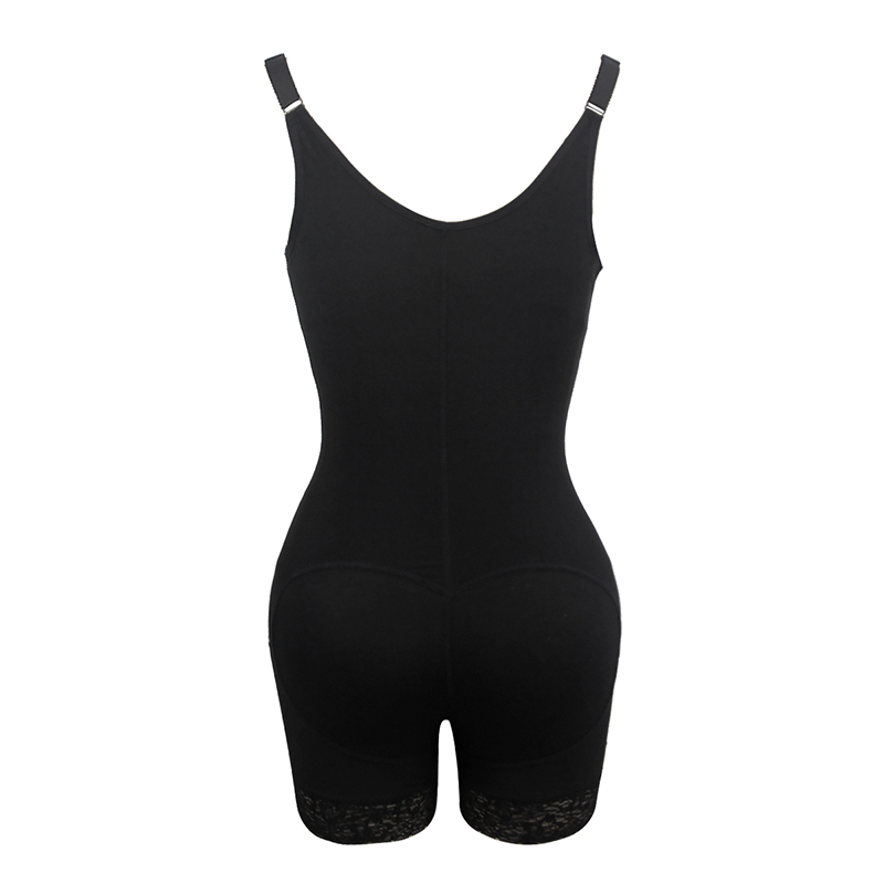 Plain Zipper Slim Waist Trainer Shapewear Lace Splicing | Loverbeauty