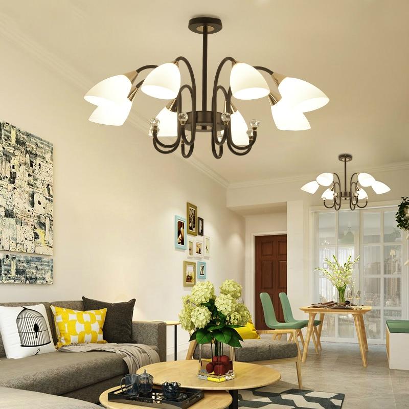 Postmodern LED chandelier dining room pendant lamps bedroom suspension lighting living room fixtures hotel glass hanging