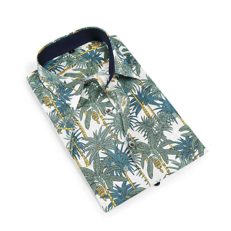 Мужская рубашка с принтом, приталенная рубашка с короткими рукавами, модная повседневная брендовая одежда, удобная и мягкая на ощупь
