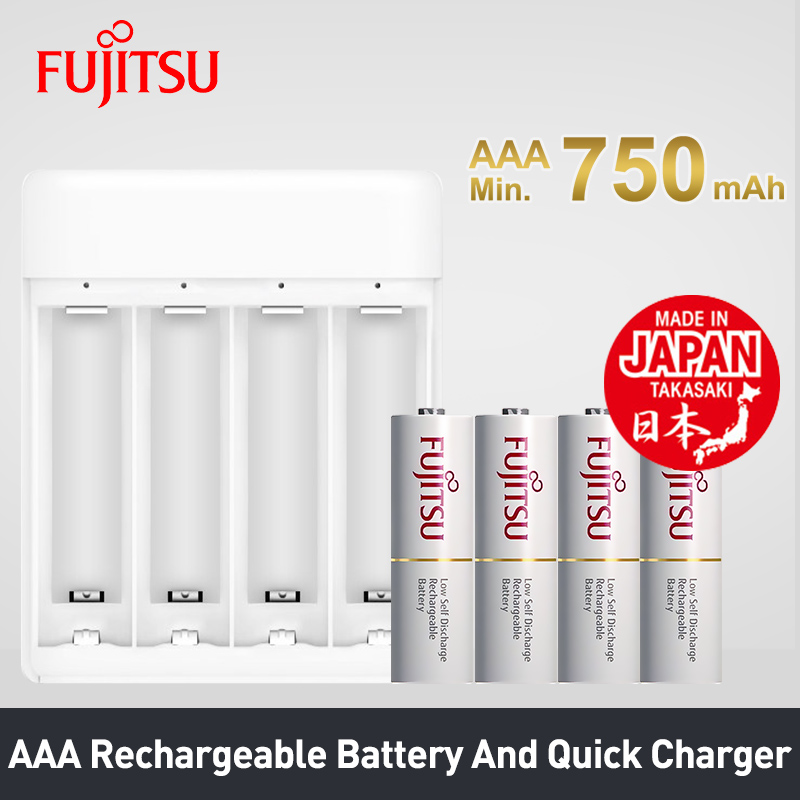 Fujitsu Faible Auto-Décharge Rechargeable Batterie 1.2 v NiMH AAA 750 mah Batteries 4 pcs/pack Made in Japan et USB rapide Chargeur