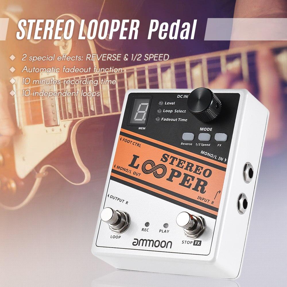 buy ammoon looper guitar pedal loop record guitar effect pedal max 10min. Black Bedroom Furniture Sets. Home Design Ideas