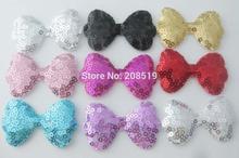 PANVSL 80pcs sequins patches bows shape multi-colors DIY decorative sewing appliques for costume hair jewelry