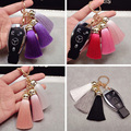 Multicolour Silk Bag Tassel Keychain Women Fur Bag Charm Bag Accessories Car Key Chain Key Ring