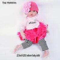 G202 55 см реалистичные куклы новорожденных девочек Рождество подарок npkcollection волос корнями Reborn Детские Мягкие силиконовые jiaou куклы для девоч