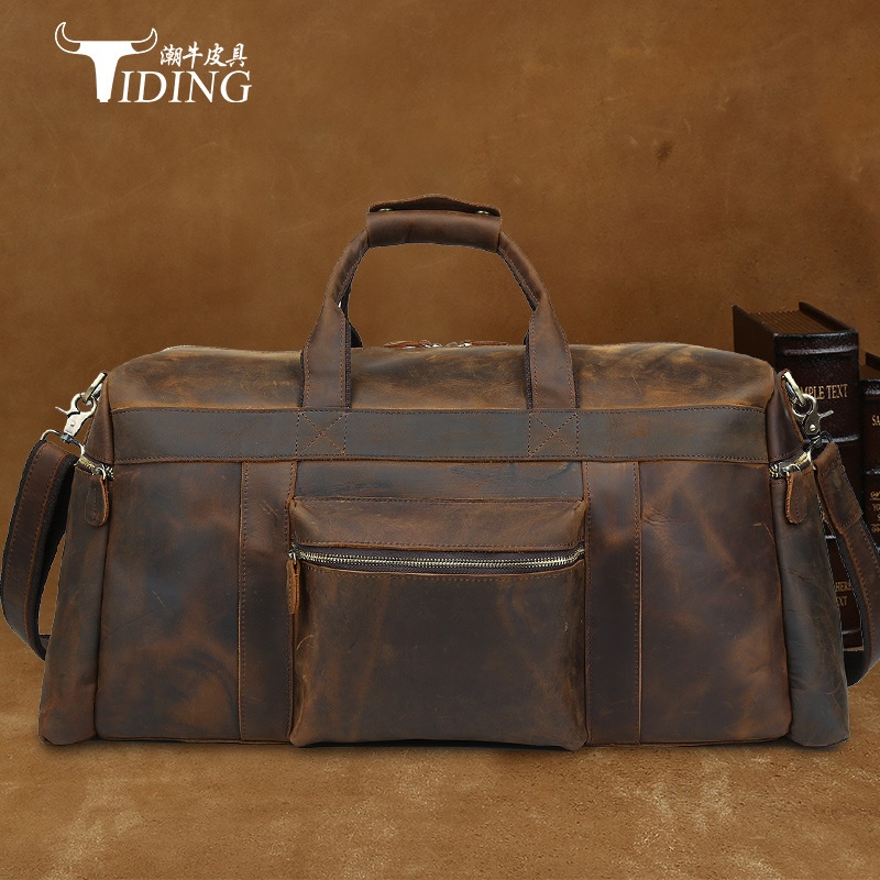 Vintage Crazy Horse leather men travel bags Luxury Men's Travel Bag Large capacity Luggage Bags Brown Travel Duffle Totes simline vintage genuine crazy horse leather cowhide men large capacity travel duffle bag shoulder luggage bags handbag for men