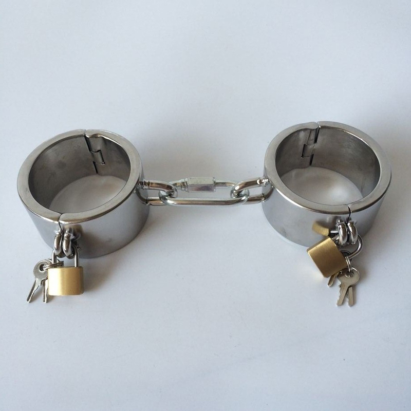 sex item stainless steel handcuffs BDSM bondage restraints metal fetish new lock hand cuff adult game sex toys for couples stainless steel metal hand cuffs bdsm fetish wear bondage restraints handcuffs for sex erotic toys adult game sex toys for women