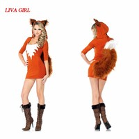 LIVA GIRL Adult Sexy Fox Costume For Women Halloween Animal Theme Fancy Dress