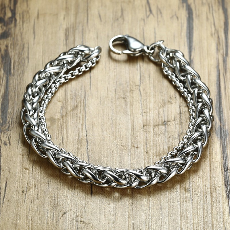 Vnox Wheat Spiga Box Double Link Chain Bracelet for Men