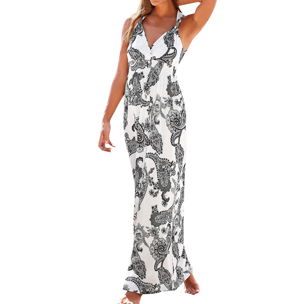 CHAMSGEND Women's Summer V-neck Print Vest Waist Slimming Elegant dress casual fashion beach skirt(China)